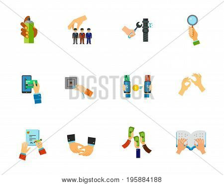 Hand sign icon set. Graffiti spray Head hunting Pipe repair Bidder hand E-payment Network socket Online payment Sign language Signing job contract Depicting hands Raising money Braille book