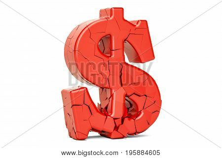 Broken Dollar Symbol 3D rendering isolated on white background