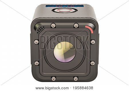 Dashcam DVR closeup 3D rendering isolated on white background