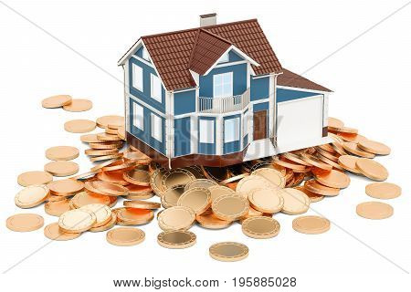 Real estate financial concept house on golden coins. 3D rendering