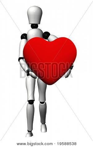 High resolution red 3D heart held in hands by an adult male, ideal for love,medical,holiday,friendship or Valentine`s Day designs