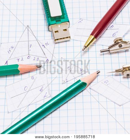 Tools for drawing and a device for storing information on a sheet of notebooks with cut out geometric figures all for education