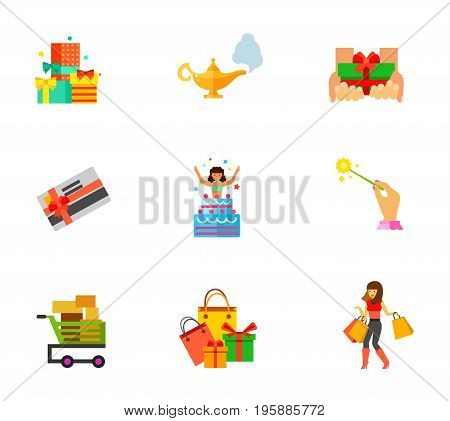 Holiday sale icon set. Gifts heap Free gift Gift card Shopping cart Holiday shopping Woman shopping. Contains bonus icons of Aladdin lamp Surprise Magic stick