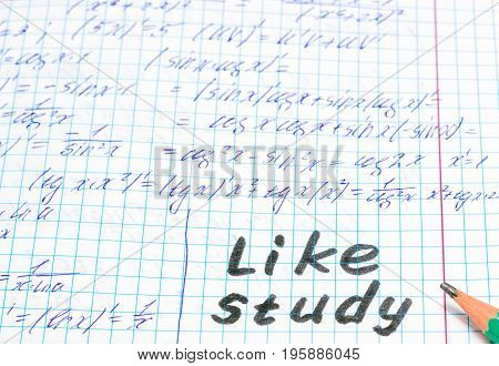 Simple pencil on a sheet of a notebook with an English inscription like study