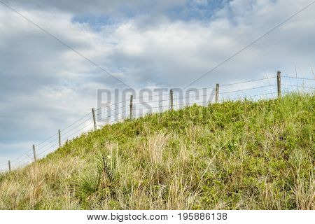 barbed wire fence in Nebraska Sandhills, summer scenery