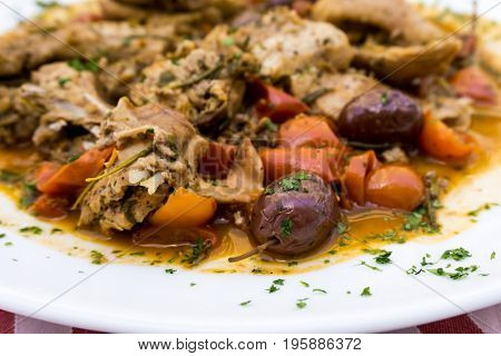 Closeup of pork stew Meat with vegetables
