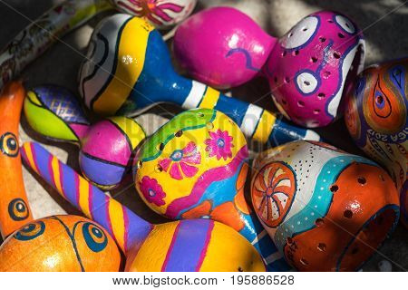 Paint on pumpkin shells: Antalya, Turkey - June 25, 2017. Paint on pumpkin shells - interesting element of interior design - lamps and shades, covered with patterns and pictures