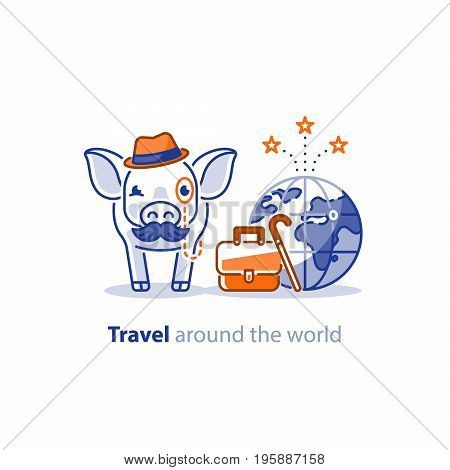 Retired pig with mustache travelling around the world, tourism services, tour package, vacation destination vector illustration