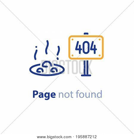 Error 404 page not found concept illustration, webpage banner, search result message, vector line design