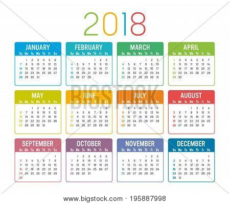 Colorful year 2018 calendar isolated on a white background