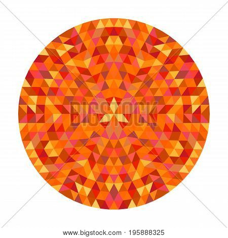 Circular geometrical triangle mandala design symbol - symmetric vector pattern art from color triangles