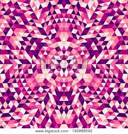 Round abstract geometrical triangle mandala background - symmetrical vector kaleidoscope pattern design from colorful triangles