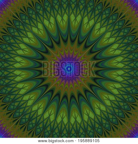 Psychedelic mandala fractal background - circular kaleidoscope vector pattern graphic from curved stars