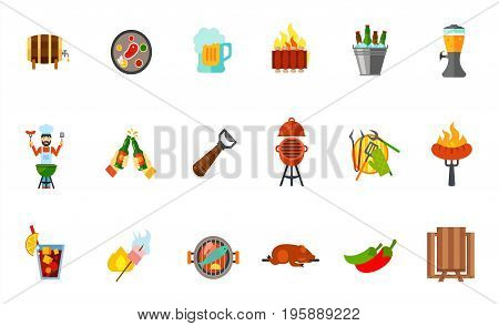 Outdoor party icon set. Wooden barrel Steak Beer mug Grilled ribs Beer bucket Tap Toast Beer opener Oven barbecue Barbeque tools Sausage Cold drink Marshmallow Fish Lechon Jalapeno pepper Picnic table