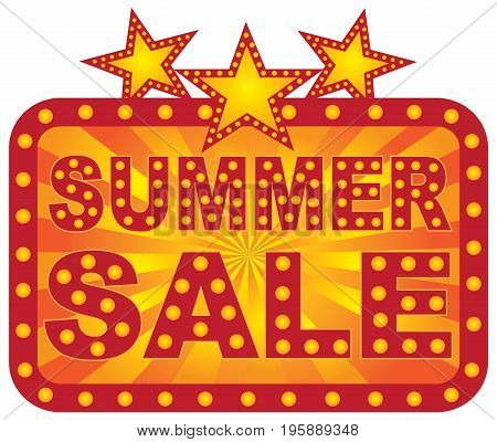 Retro Marquee store summer sale sign with lights stars sunrays vector Illustration