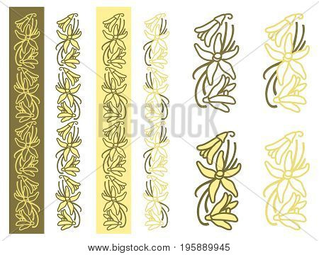Dried vanilla fruits and flower. Monochrome and two-color options