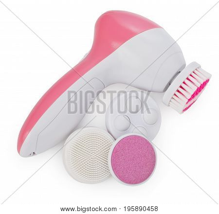Electric anti aging facial skin massage machine with a kit of фttachments isolated on a white background