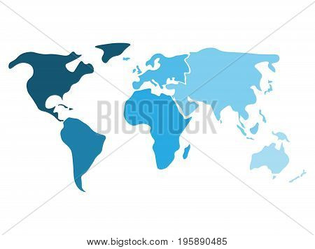 Multicolored world map divided to six continents in different shaders of blue - North America, South America, Africa, Europe, Asia and Australia Oceania. Simplified silhouette blank vector map.