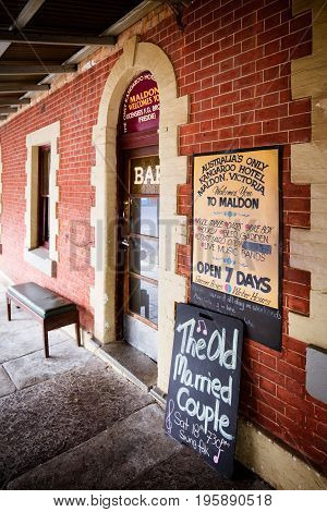 MALDON, AUSTRALIA - February 19 2017: Historic Victorian pub architecture in the old gold mining town of Maldon, Victoria, Australia