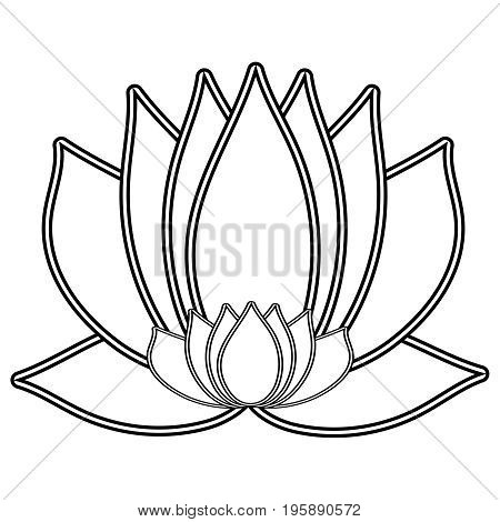 Lotus. The Black and white flower is a symbol of purity and enlightenment. You can use as a logo, trademark, icon. Suitable for illustrating yoga and oriental teachings. design element.