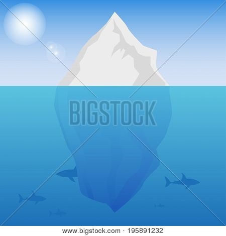 Iceberg background with the sun and sharks underwater