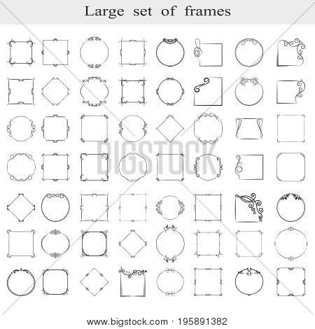 A large set of isolated frames. Vector.