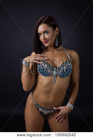Showgirl In Suit With Rhinestones.