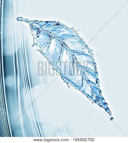 Leaf made of water splash. 3d rendering