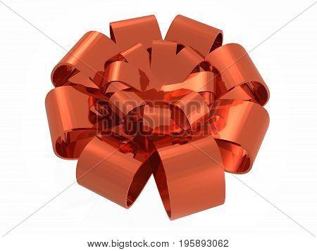 Red ribbon against white background 3D illustration.