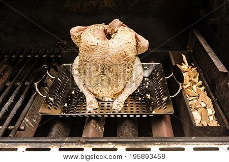 Beer can chicken on a grill. The chicken is covered with garlic. The chicken is not yet cooked. There is smoking chips in the tray next to the chicken.