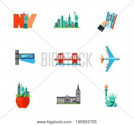 Travelling to New York icon set. New York Concrete jungle Holding tickets Wall street sign Brooklyn bridge Air flight Big apple sign Statue of liberty. Contains bonus icon of St. Patrick cathedral