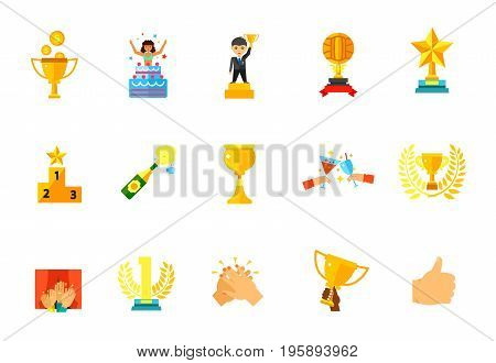 Winning icon set. Money rain Man with cup Volleyball trophy First place Wine goblet Trophy cup Audience First place award Clapping Hand holding award Like sign. Bonus icons of Surprise Champagne Toast