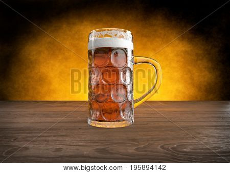 oktoberfest glass of beer on wooden table. 3D render