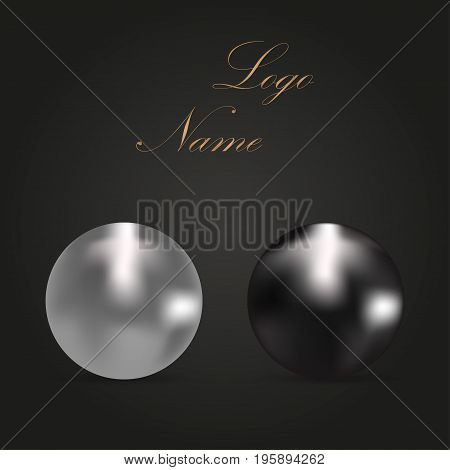 Beautiful sparkling pearls with shadows on a dark background. Black and white pearls. Gold logotype