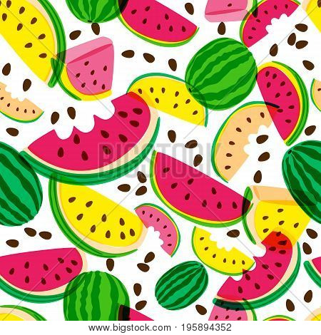 Vector Seamless Pattern With Fresh Red And Yellow Watermelon Isolated On White Background.