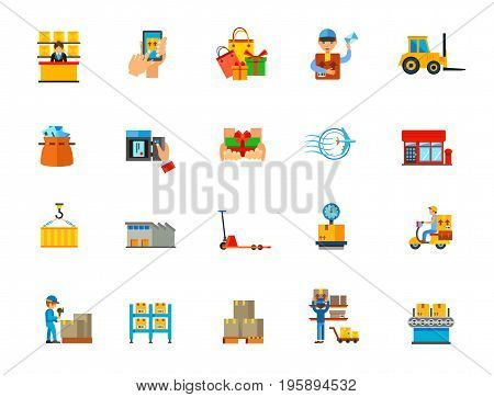 Online shopping icon set. Post office Tracking Bags Delivery man Forklift Mail bag Mailbox Gift Stamp Container Warehouse Pallet truck Scales Delivery Packing center Case Pallet Storage Line machine