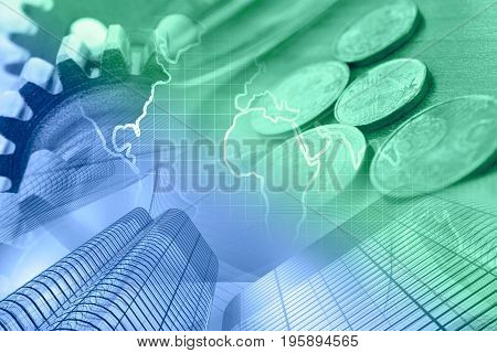 Business background with money map and buildings in greens and blues.