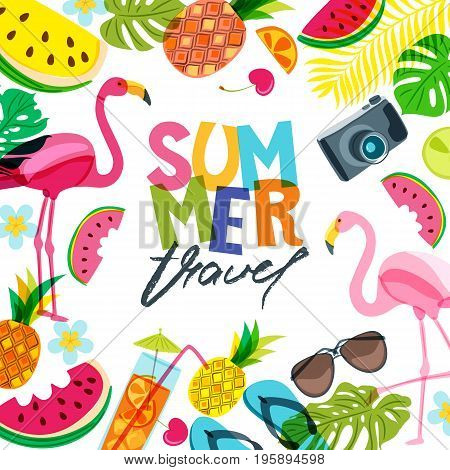 Vector Banner, Poster, Flyer Design With Flamingo, Palm Leaves, Cocktail, Watermelon And Pineapples.