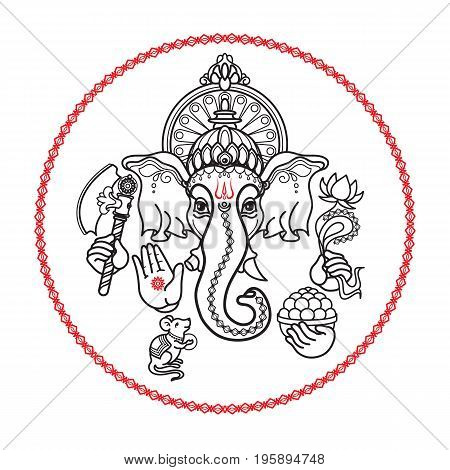 Hindu God Ganesha. Hand drawn Vector illustration.  Black line isolated on white.