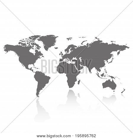 Gray world map with shadow on a white background