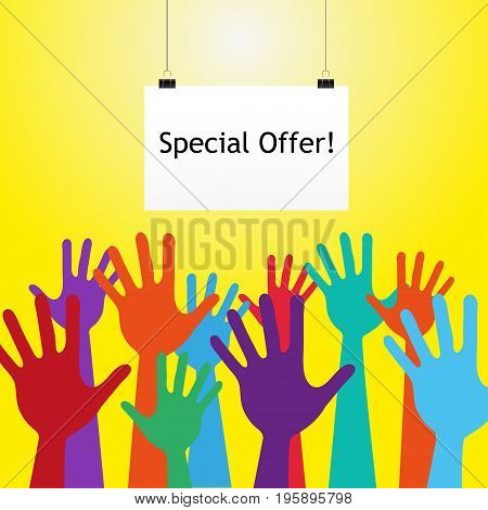 Colorful Hand Up. With text special offer