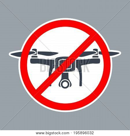 Road prohibit sign No Drone Zone. Vector simple red and black illustration on white background. For pictogram and icon.