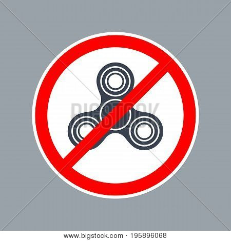 Prohibit sign No Spinner. Vector flat simple red and black illustration on white background. For pictogram and icon.