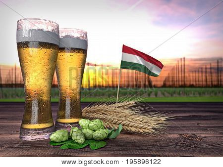 concept of beer consumption in Hungary - 3D render
