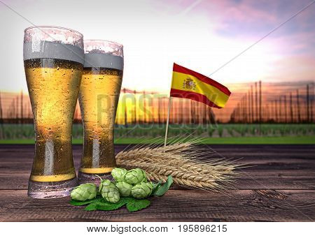 concept of beer consumption in Spain - 3D render