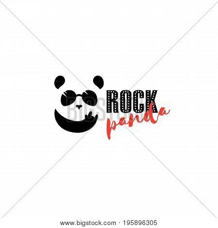 Rock panda logo. Funny music panda mascot. Bar symbol