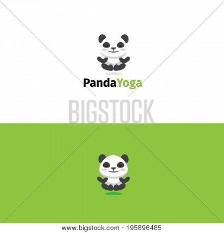 Panda yoga logo. Meditating panda bear mascot