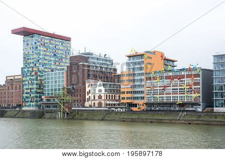 DUSSELDORF GERMANY - FEBRUARY 22 2016: Media harbor of Dusseldorf the capital city of the German state of North Rhine-Westphalia and the seventh most populous city in Germany