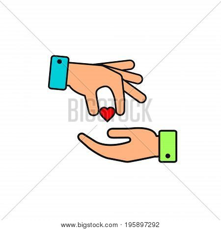 Hand gives heart to other person color icon in flat style. Vector love or donate illustration.