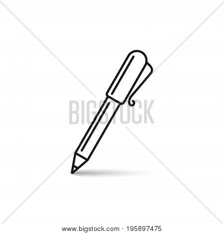 Pen line icon isolated on white background. Vector outline symbol.